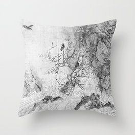 Landscape with Rapids BW Throw Pillow
