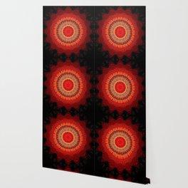 Vibrant Red Gold and black Mandala Wallpaper