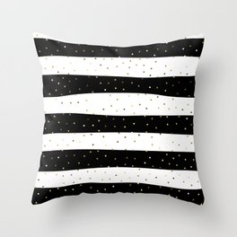 Simple Christmas seamless pattern Golden Confetti on Black and White Stripes Background Throw Pillow
