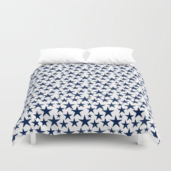 Blue stars on white background illustration Duvet Cover