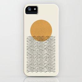 Ocean wave gold sunrise - mid century style iPhone Case