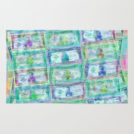 540 Million Dollars Blue Green Pastel Money Bling Cash Dollar Bills Loot Coin Rug
