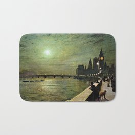 Reflections on the Thames River, London by John Atkinson Grimshaw Bath Mat