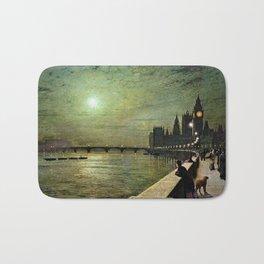 Reflections on the Thames River, London by John Atkinson Grimshaw Bath Mat