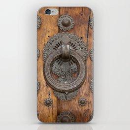 Metal Knocker on Old Wooden Door iPhone Skin
