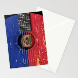 Old Vintage Acoustic Guitar with Haitian Flag Stationery Cards