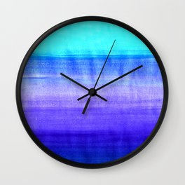 Ocean Horizon - cobalt blue, purple & mint watercolor abstract Wall Clock