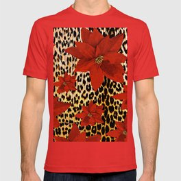 Animal Print Leopard and Red Poinsettia T-shirt