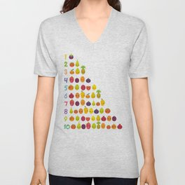 numbers for preschool kindergarten kids kawaii fruit from one to ten Unisex V-Neck