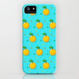 Pixel Oranges - Blue iPhone Case