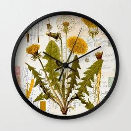 Vintage Dandelion on Antique Postcards Wall Clock