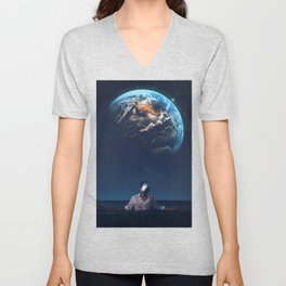 The Earth Head by GEN Z Unisex V-Neck