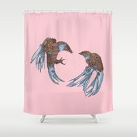 battlefield Shower Curtains featuring LOVE + BATTLE by SCBarr