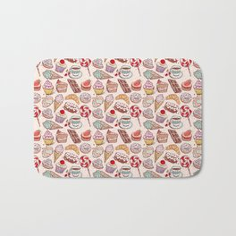 Hand drawn confectionery croissant Cupcake candy ice cream cake donut and coffee Bath Mat