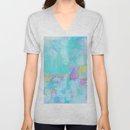 Turquoise, Blue Abstract Work Unisex V-Neck
