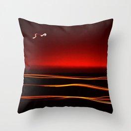 Night Lights Moon and Three Autos Throw Pillow