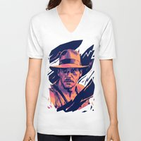 indiana jones V-neck T-shirts featuring indiana jones// bad actors v2 by mergedvisible
