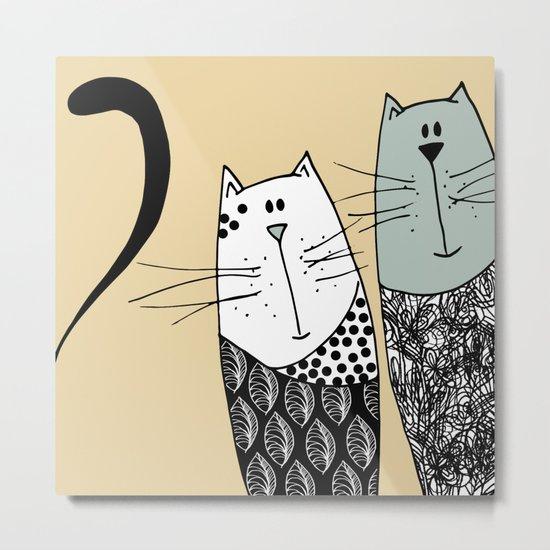 Mr & Mrs Cat Metal Print