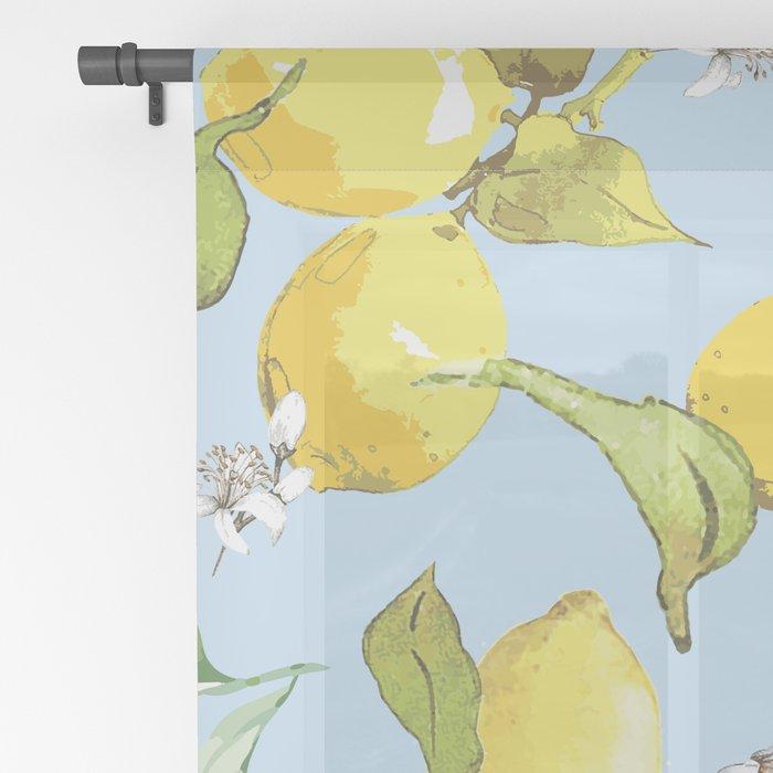 Watercolor lemons 10 Sheer Curtain