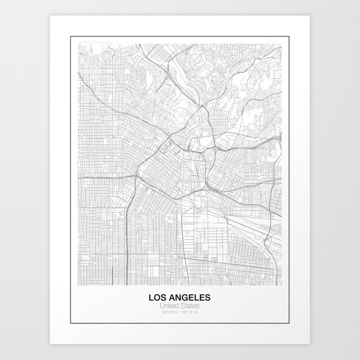 Los Angeles United States Minimalist Map Art Print by resfeber