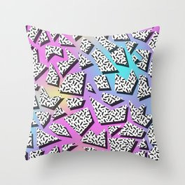 Pattern in memphis style with geometric shapes Throw Pillow