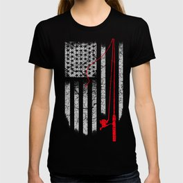 Fishing Rod in the US flag T-shirt