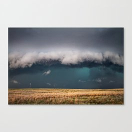 Small - Large Storm Towering Over Windmill in Texas Canvas Print