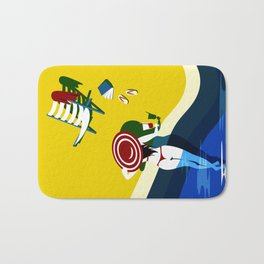 woman with red hut in swimming pool Bath Mat
