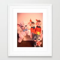 pixies Framed Art Prints featuring Pixies gathers with lamb and mouse by Vintage  Cuteness