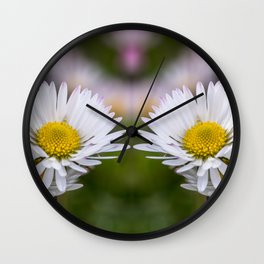 Colourful mirroring daisy flowers Wall Clock