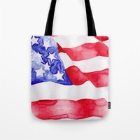 american flag Tote Bags featuring American Flag by Bridget Davidson