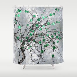 Abstract Gemstone and  Malachite Tree Shower Curtain