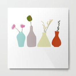 Vases with flowers and twigs in pastel colors Metal Print