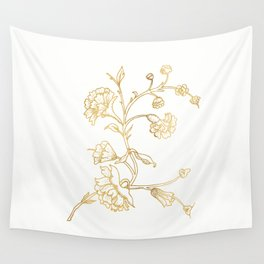 Golden flower on white background . artwork https://society6.com/totalflora/collection Wall Tapestry