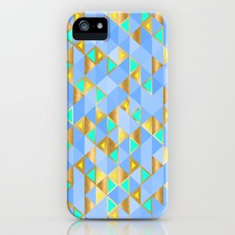 Contemporary Faux Gold and Blue Triangles Pattern iPhone Case