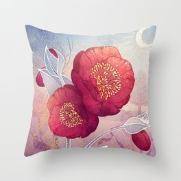 Christmas Roses :: Red Petals, Frosted Leaves Throw Pillow