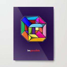 Impossible Cube Metal Print