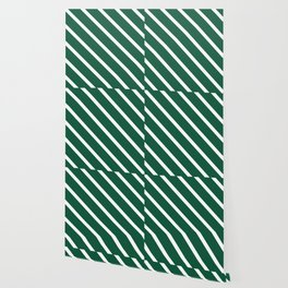 Teal The World (Green) Diagonal Stripes Wallpaper