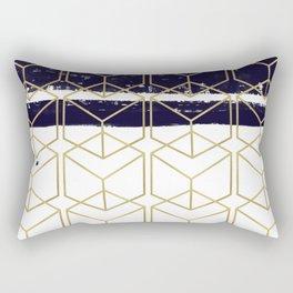 Blue & Gold Hexagon Rectangular Pillow