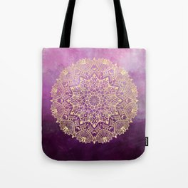 Gold mandala on maroon ink Tote Bag