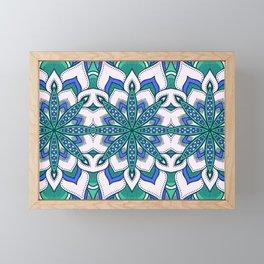 Blue & Mint Green Flower Mandala Pattern Framed Mini Art Print