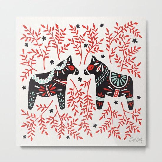 Swedish Dala Horses – Red and Black Palette Metal Print