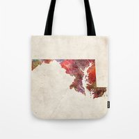 maryland Tote Bags featuring Maryland by MapMapMaps.Watercolors