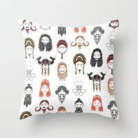 middle earth Throw Pillows featuring The Unwritten Lady Dwarves of Middle Earth by geeksweetie