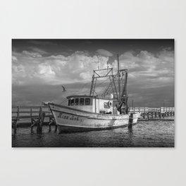 Black and White Fishing Boat Miss Ash at Sunrise by Aransas Pass Harbor in Corpus Christi Bay Canvas Print