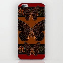 BLACK  MONARCH BUTTERFLIES,COFFEE BROWN-BURGUNDY ART iPhone Skin