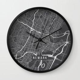 Newark Map, USA - Gray Wall Clock