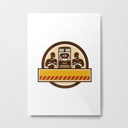Train Engineers Arms Crossed Diesel Train Circle Retro Metal Print