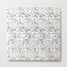 simple flowers on white background . artwork Metal Print