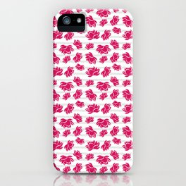 Lotus Flower Pattern with Gray Stripes iPhone Case